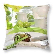 Place Setting With Place Card Set For Easter Throw Pillow by Sandra Cunningham
