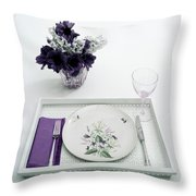 Place Setting With With Flowers Throw Pillow