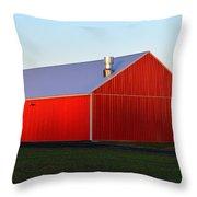 Plain Jane Red Barn Throw Pillow