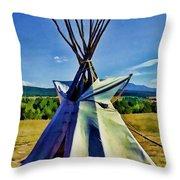 Plains Tribes Teepee Throw Pillow