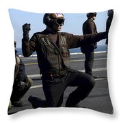 Plane Captains Signal For The Start Throw Pillow