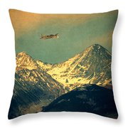 Plane Flying Over Mountains Throw Pillow