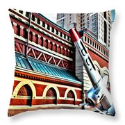 Plane In The City Throw Pillow
