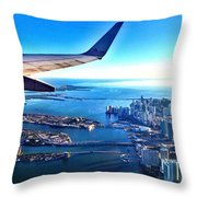 Plane Over Miami Throw Pillow