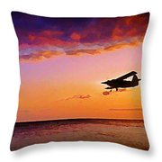 Plane Pass At Sunset Throw Pillow