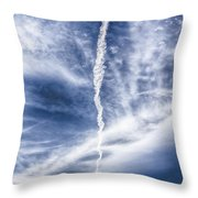 Plane Vapor Trail Throw Pillow