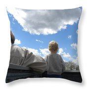 Plane Viewing From The Truck Bed Throw Pillow by Sheri Lauren Schmidt