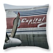 Plane Vintage Capital Airlines Throw Pillow by Paul Ward