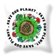 Planet Earth Icon With Slogan Throw Pillow