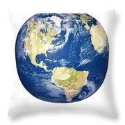 Planet Earth On White - America Throw Pillow