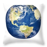 Planet Earth On White - America Throw Pillow by Johan Swanepoel