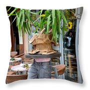 Plant And Table Top Rests On Mannequin Throw Pillow