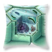 Plant Cell, Illustration Throw Pillow