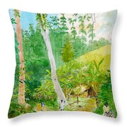 Plantain Walk Watchman And Hut Throw Pillow