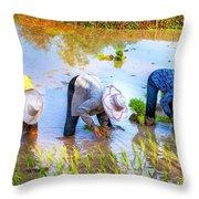 Planting Rice Throw Pillow
