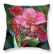 Plastic Wrapped Pink Flower By Diana Sainz Throw Pillow