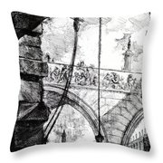 Plate 4 From The Carceri Series Throw Pillow