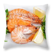 Plate With Shrimps  Throw Pillow