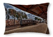 platform view of the first railway station of Tel Aviv Throw Pillow