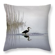Platinum Heron Throw Pillow by Skip Willits
