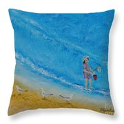 Play At The Beach Throw Pillow