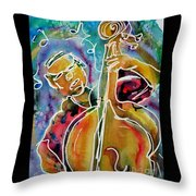 Play The Blues Bass Man Throw Pillow