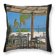 Playa Blanca Restaurant Bar Area Punta Cana Dominican Republic Throw Pillow