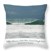 Playa Hermosa Wave Triptych Central Pacific Coast Costa Rica Throw Pillow