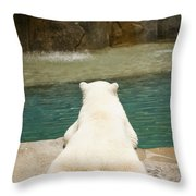 Playful Polar Bear Throw Pillow by Adam Romanowicz
