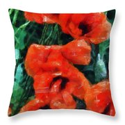 Playful Poppies 5 Throw Pillow