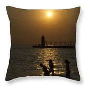 Playful Sunset Throw Pillow