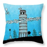 Playful Tower Of Pisa Throw Pillow by Gianfranco Weiss