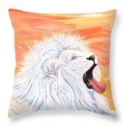 Playful White Lion Throw Pillow