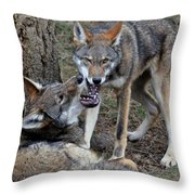 Playful Wolves Throw Pillow