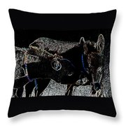 Playing Burros Throw Pillow