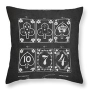 Playing Cards  Patent Drawing From 1877 - Dark Throw Pillow by Aged Pixel
