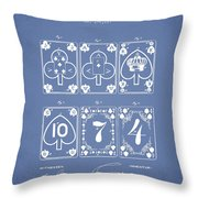 Playing Cards  Patent Drawing From 1877 - Light Blue Throw Pillow