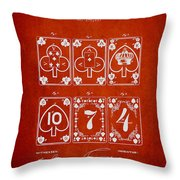 Playing Cards  Patent Drawing From 1877 - Red Throw Pillow
