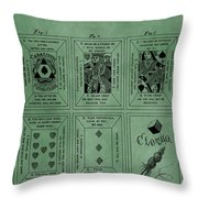 Playing Cards Patent Green Throw Pillow