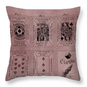 Playing Cards Patent Red Throw Pillow