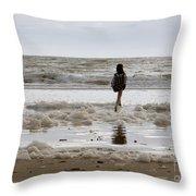 Girl Playing In Sea Foam Throw Pillow