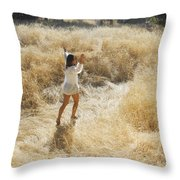 Playing In The Grass Throw Pillow