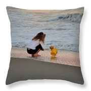 Playing In The Ocean Throw Pillow