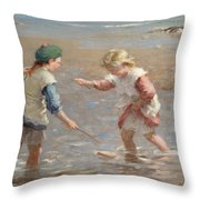 Playing In The Shallows Throw Pillow by William Marshall Brown
