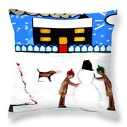 Playing In The Snow Throw Pillow