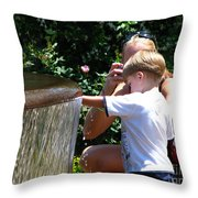 Playing In Water Throw Pillow