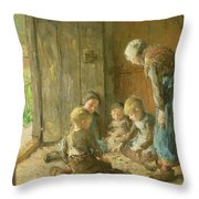 Playing Jacks On The Doorstep Throw Pillow by Bernardus Johannes Blommers