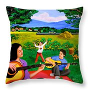 Playing Melodies Under The Shade Of Trees Throw Pillow