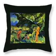 Playing Nudes Under Trees Throw Pillow