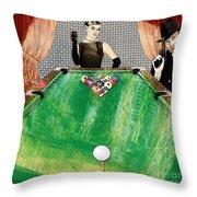 Playing Pool My Way Throw Pillow